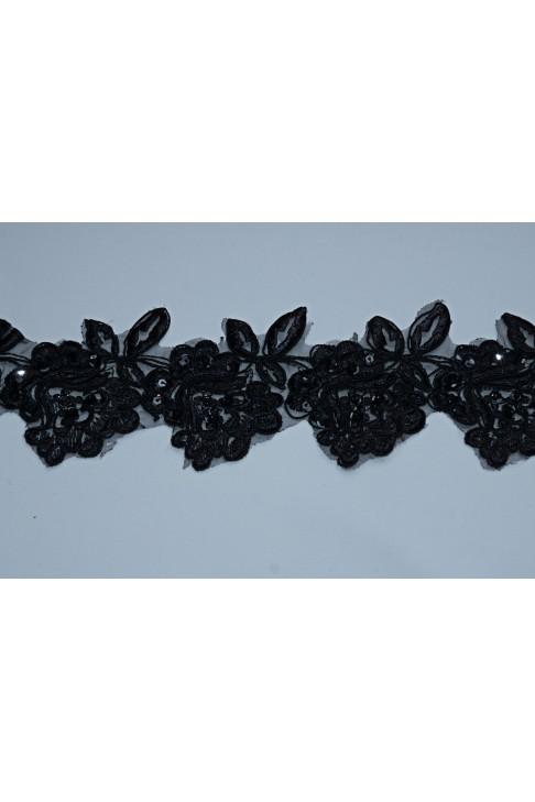 0911  Кружево на органзе цв.черный