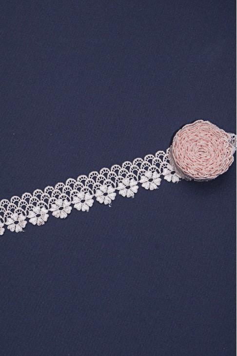 00420 Кружево макраме цв.25 розовый айвори