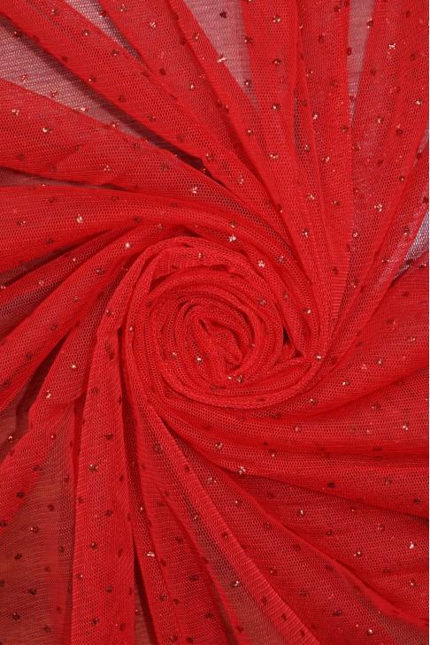 1220 Фатин с напылением цв.05 красный