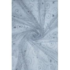23986 Органза завитушки диз.8030 цв.02 серебро