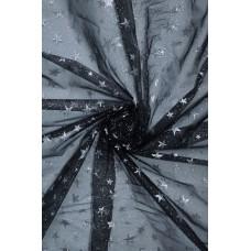 23986 Органза звёзды диз.8026 цв.01 чёрный