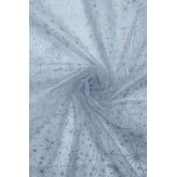 23986 Органза снежинки диз.8024 цв.01 серебро